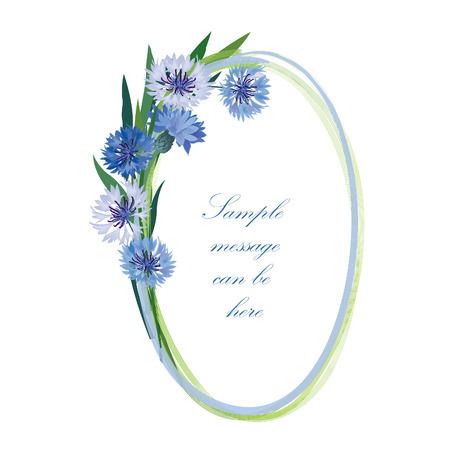 posy: Flower frame  Cornflower posy oval border  Spring floral background  Illustration