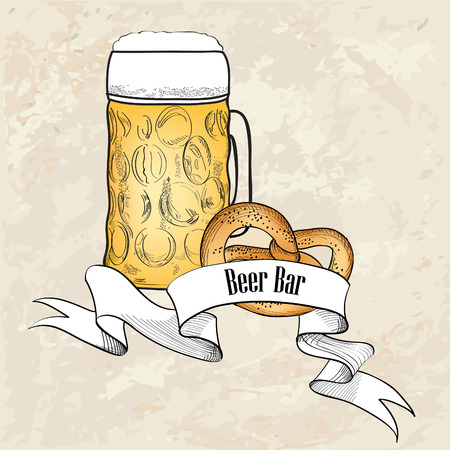Beer symbol  Full Beer Mug with pretzel  Beer bar old-fashioned banner Vector