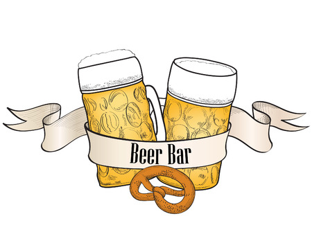 Beer symbol  Full Beer Glass with  Beer bar banner Vector