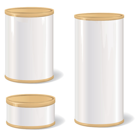 Metal Gift Box Set  Blank tincan collection with vintage label  Metal Tin Can  Retro Canned Food  Product Packing  Vector