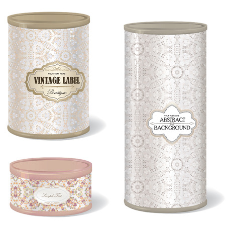Metal Gift Box Set. Blank tin can. collection with vintage label. Metal Tin Can. Retro Canned Food  Product Packing  Vector