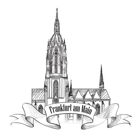 dom: Dom Cathedral, Frankfurt am Main, Allemagne symbole historique allemand isolé Illustration
