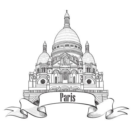 몽마르뜨 기호 여행 파리 아이콘 손으로 그린 스케치