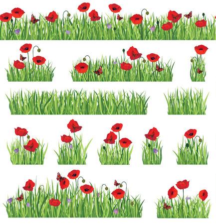잔디 테두리 배경을 설정합니다. 여름 아이콘과 원활한 꽃 프레임 컬렉션