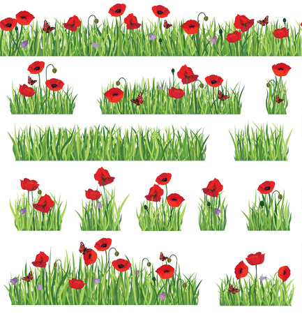 Grass border background set.  Summer icon and seamless floral frame collection