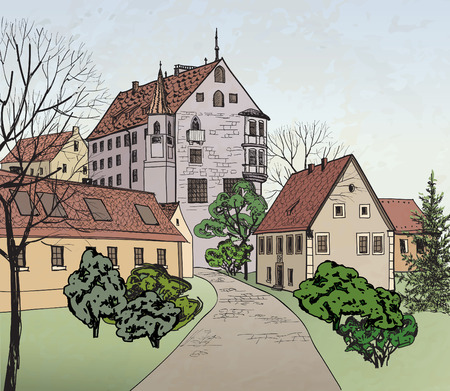 provincial: Pedestrian street in the old european city with castle on the background.  Historic city street  Hand drawn sketch.  Vector illustration