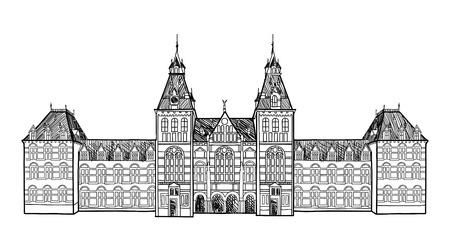 アムステルダムのランドマーク。中央鉄道駅、オランダの歴史的な建物。手描きのスケッチ