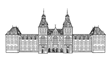 railway history: Amsterdam landmark. Central Railway Station, Netherlands historic building. Hand drawn sketch