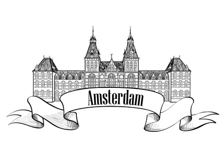 Amsterdam landmark. Central Railway Station, Netherlands historic building symbol. Hand drawn sketch icon Illustration