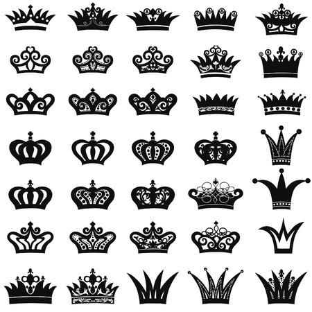 style wealth: Crown icon set Illustration