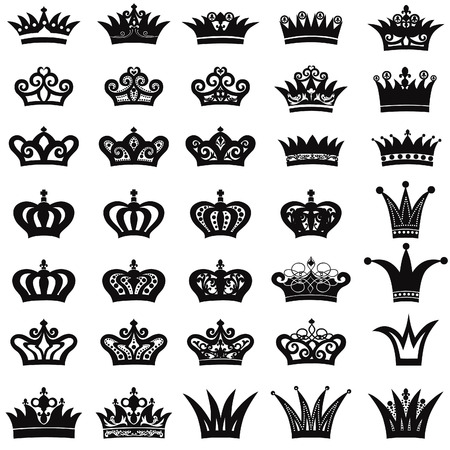 Crown icon set Illustration