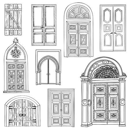 draw: Door set. Collection of hand drawn sketch vintage doors.