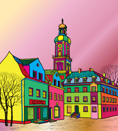 provincial: Funky journey. Predistant street in euoropean city. Colorful panorama city vector background in 1960s pop art style.