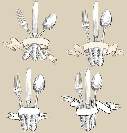 フォーク、ナイフ、スプーンの手描きのスケッチ セット。刃物のコレクションです。レストラン記号セット。