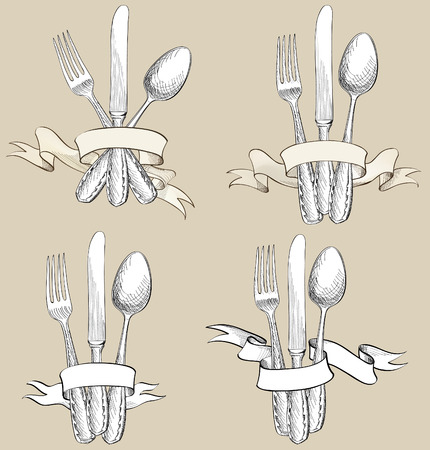 cuchillo: Tenedor, cuchillo, cuchara dibujo a mano conjunto de dibujos. Colección de cubiertos. Establece restaurante símbolo.