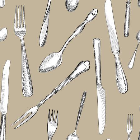 dinnerware: Fork, Knife, Spoon hand drawing sketch  seamless texture. Cutlery  pattern
