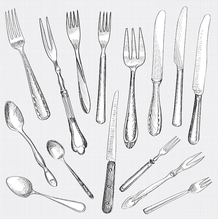 Fork, Knife, Spoon hand drawing sketch set over esamless fabric texture. Vector