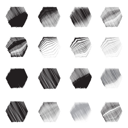 Geometric hexagon shapes sketch set Vector