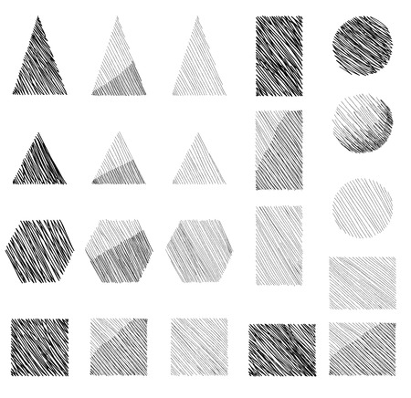 graphite: Geometric shape hand drawn set
