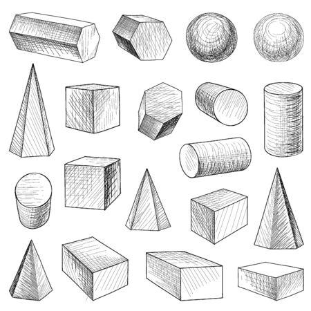 Geometric shape hand drawn set Vector