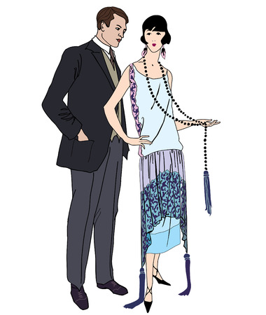 Couple on party. Man and woman in cocktail dress in vintage style 1920s. Portrait of an attractive flapper girl with her boyfriend. Retro fashion vector illustration isolated on white background.