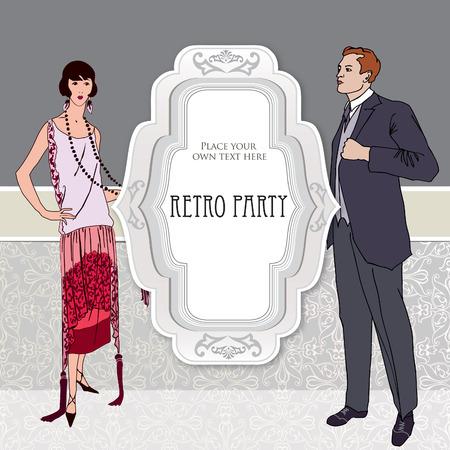 flapper: Diseño de la invitación del partido retro. Chica de la aleta y el hombre sobre el fondo de la vendimia con copia espacio en el estilo de 1930. Vectores