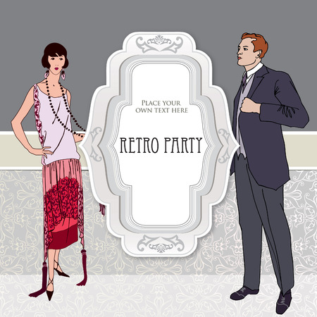 Retro party invitation design. Flapper girl and man over vintage background with copy space in 1930s style. Vector
