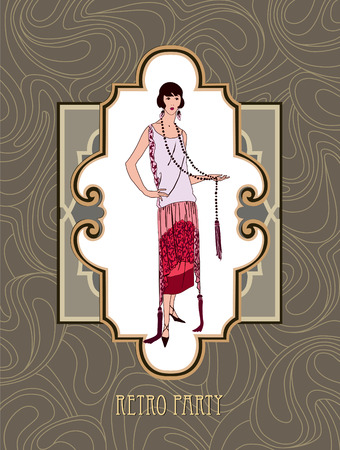 charleston: Retro party invitation design. Flapper girl over vintage background with copy space in 1920s style. Illustration