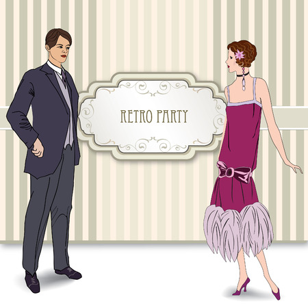 charleston: Retro party invitation design. Flapper girl and man over vintage background with copy space in 1930s style.