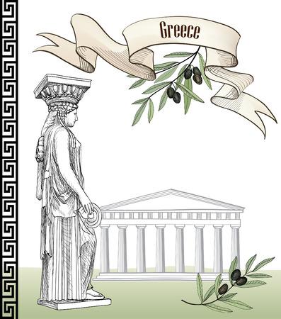 antica grecia: Grecia antica icon set: Acropolis Hill di Atene, la scultura cariatide greca, ramo d'ulivo, ornamento greco e il nastro con copia spazio. Disegno a mano collezione Viaggi Europa. Sfondo greca. Vettoriali