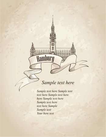 German city travel symbol set. Hamburg, Germany, Europe. Hand drawn sketch landmark over old paper background.  Vector