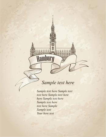 German city travel symbol set. Hamburg, Germany, Europe. Hand drawn sketch landmark over old paper background.  Vector
