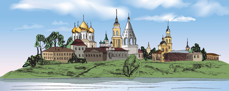 place of worship: Old russian town landscape with church, hand drawn sketch vector illustration. Kolomna city. View of Suzdal cityscape. The Golden Ring of Russia.