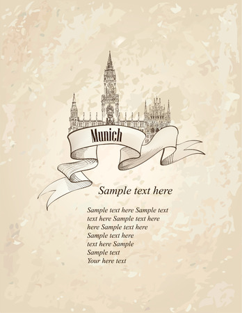 German landmark symbol. Travel Munich old-fashioned hand drawn sketch background. Vector