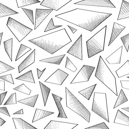 Geometric shape hand drawnsketch seamless background.  Abstract pattern. Vector