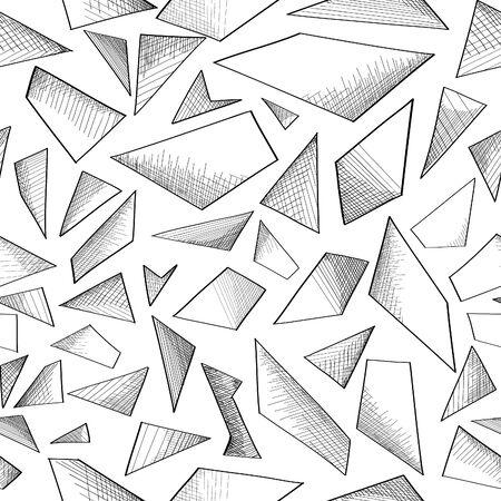 Geometric shape hand drawnsketch seamless background.  Abstract pattern.