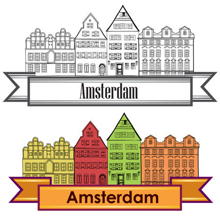 Amsterdam canal houses. Netherlands symbol. Travel Europe icon. Vector
