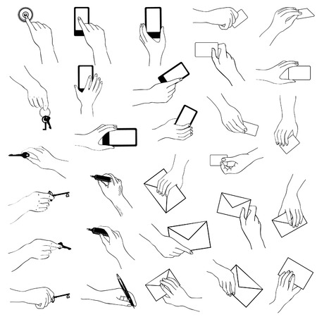 show bussiness: Hand gestures collection. Hands holding key, phone, card. Sketch collection.