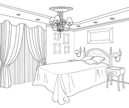 寝室の家具。インテリアの輪郭スケッチの編集可能なベクトル イラスト。グラフィカルな手描画インテリア。