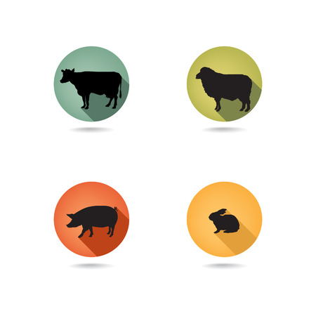 Farm animals. Vector set silhouette. Livestock icons.