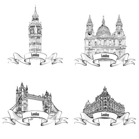 Londres edificios famosos establecen. Mano de dibujo boceto colección de monumentos de Londres. Viajes Inglaterra colección de iconos. Vectores