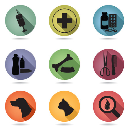 cat grooming: Pets icons set. Veterinary clinic symbol. Veterinary pharmacy emblems Illustration