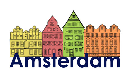 canal: Amsterdam canal houses. Netherlands symbol. Travel Europe icon.