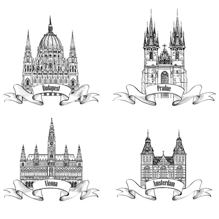 Famous European buildings. Hand drawn sketch landmarks collection. Travel Europe symbol set. Prague, Vienna, Amsterdam, Budapest city signs. Vector
