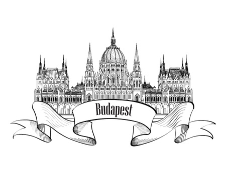 부다페스트 도시의 상징. 부다페스트 국회 의사당, 헝가리. 손을 그리기 벡터 스케치