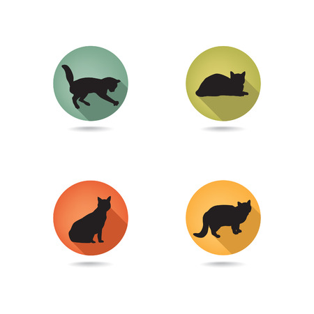 simplified: Cat icon set. Collection of vector pets icon silhouette. Illustration
