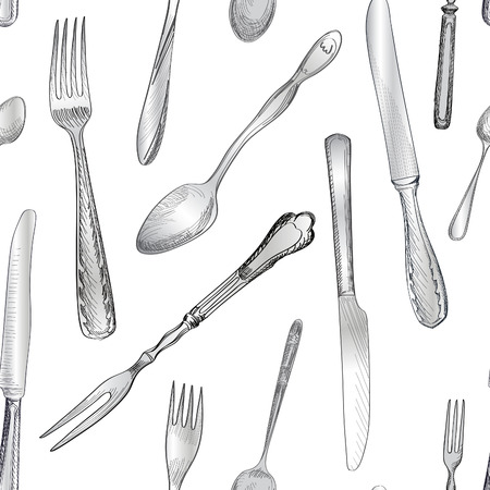 dinnerware: Fork, Knife, Spoon hand drawing sketch  seamless texture. Cutlery  pattern