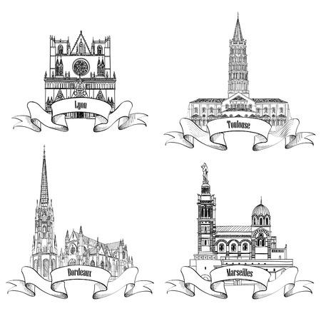Edificios y monumentos famosos de Francia. Dibujado a mano de la ciudad etiqueta conjunto francés. La arquitectura romana. Viaja Francia colección de símbolos. Burdeos, Toulouse, Lyon, Marsella catedrales. Ilustración de vector