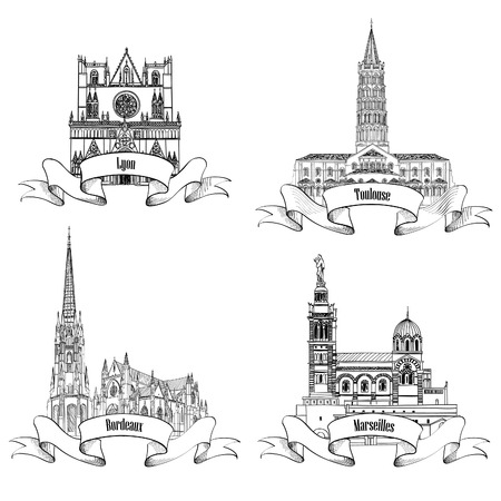 French famous buildings and landmarks. Hand drawn French city label set. Roman architecture. Travel France symbol collection. Bordeaux, Toulouse, Lyon, Marseille cathedrals.