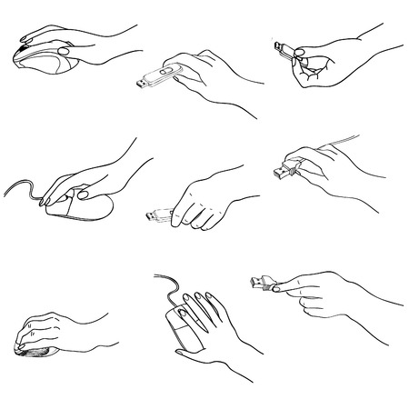 Hands set  Hand holding memory stick, computering mouse, plug  Hand drawing sketch collection  Vector